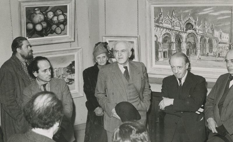 John Copley speaking at the Royal Society of British Artists, Ehtel Gabian behind <i>circa</i> 1948